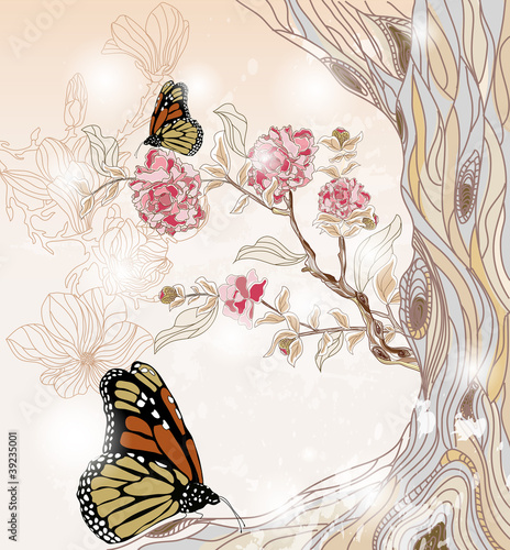 artistic spring scenery with peony branch and butterflies