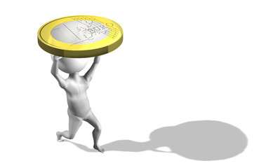 A little 3d guy carrying 1 euro coin. Conceptual