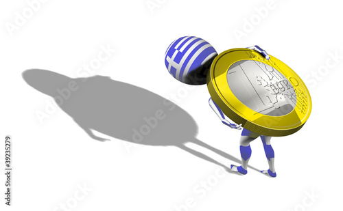 A little 3d guy in Greece flag carrying 1 euro