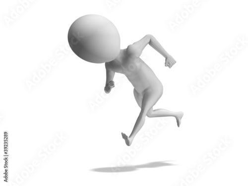 Running fast. 3d little human model on white