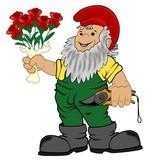 Gartenzwerg mit Rosenstrauß