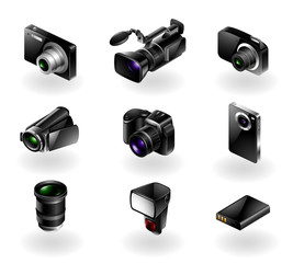 Vector set of 9 mordern black camera equipment icons