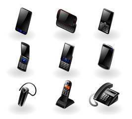 Vector set of 9 modern black phone/communication icons