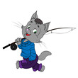 cat with a fishing rod