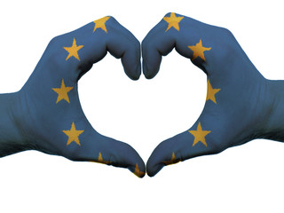 Heart and love gesture in europe flag colors by hands isolated o