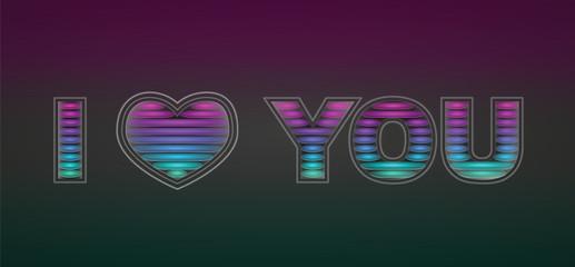 """colorfull glass signature """"I love you"""""""