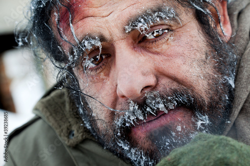 Homeless winter frozen face