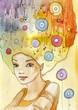 abstrakcyjny , kolorowy portret kobiety