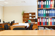 Modern office interior with tables, chairs and bookcases  Nobody