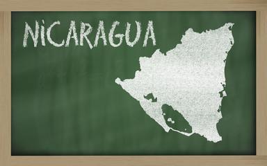 outline map of nicaragua on blackboard