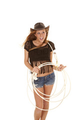 cowgirl having fun with rope