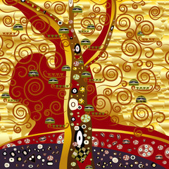 abstrakter baum - gold