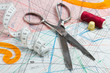 scissors, measuring tape, thimble, spool of thread  of paper pat