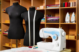 Fashion designer studio with dressmakers professional equipment poster