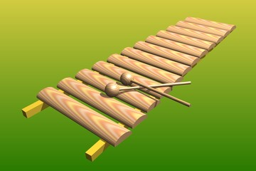 Xylophone on yellow-green Background