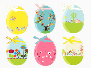 design easter eggs with bow and ribbon