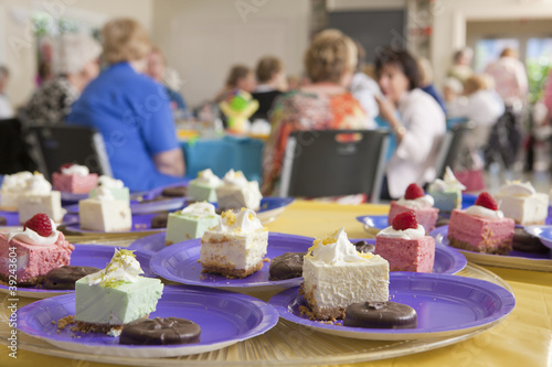 Dessert dishes at a lady's luncheon with senior women