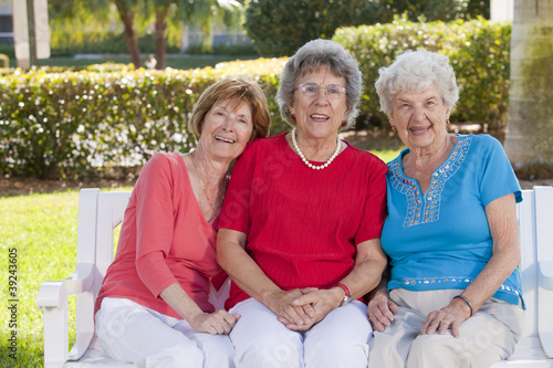Portrait of three friends smiling in a park