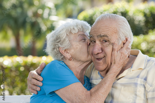 Romantic senior couple in a park