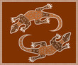 illustration based on aboriginal style of dot painting: lizard