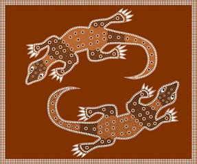 Waran im Stil der australischen Ureinwohner - dot painting