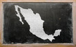 outline map of mexico on blackboard