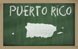 outline map of puerto rico on blackboard