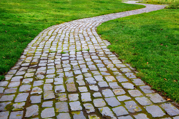 Curvy Brick Path in grass