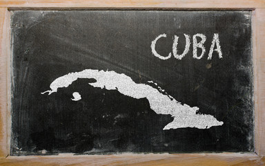 outline map of cuba on blackboard