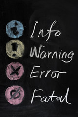 Info, warning, error and fatal