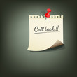 Paper note with text call back, vector illustration