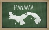 outline map of panama on blackboard