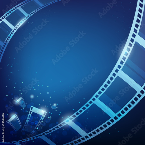 film action for photos blue background, vector illustration