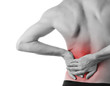 Leinwanddruck Bild - Rear view of a young man holding his back in pain, isolated on w