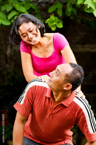 cheerful attractive ethnic couple portrait