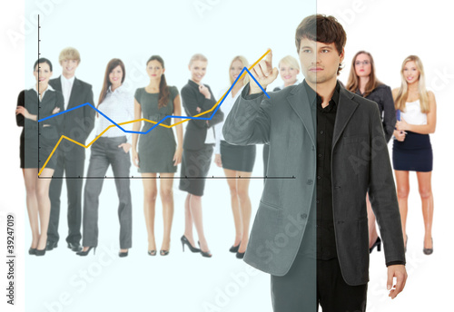 Young happy businesswoman pointing growth on graph
