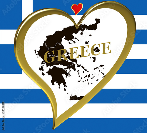 Map of Greece with flag