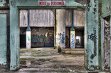 Workers entrance in an abandoned factory