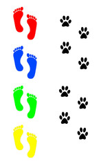 dog and human footprints over white background