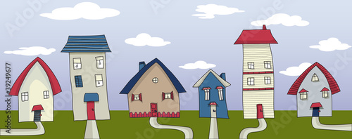Village Street - hand drawn vector illustration
