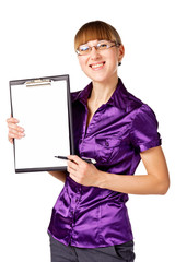 Portrait of a successful businesswoman with blank binder
