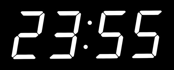 Digital clock show five minutes to twelve
