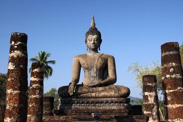 Ancient buddha in Sukhothai Historical Park, Thailand