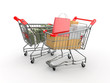 Consumerism. Purchase of goods for money. Shopping cart with box