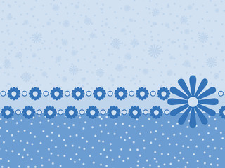 Blue background with flowers and stars