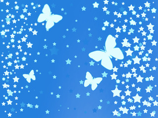 Blue background with stars and butterflies