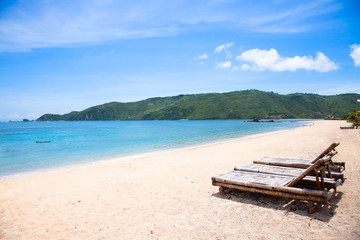 Kuta  sand  beach, Lombok, Indonesia
