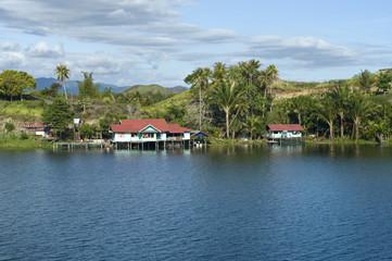 House on an island on the lake of Sentani