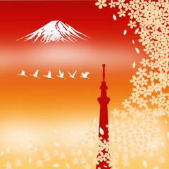 Tokyo Sky Tree and Fuji Mt. with Cherry flowers, vector file