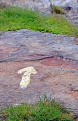 flèche peinte sur un rocher